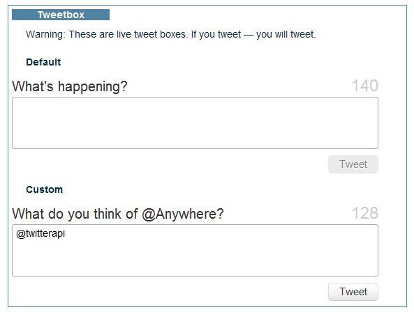Cajas de Texto para twittear