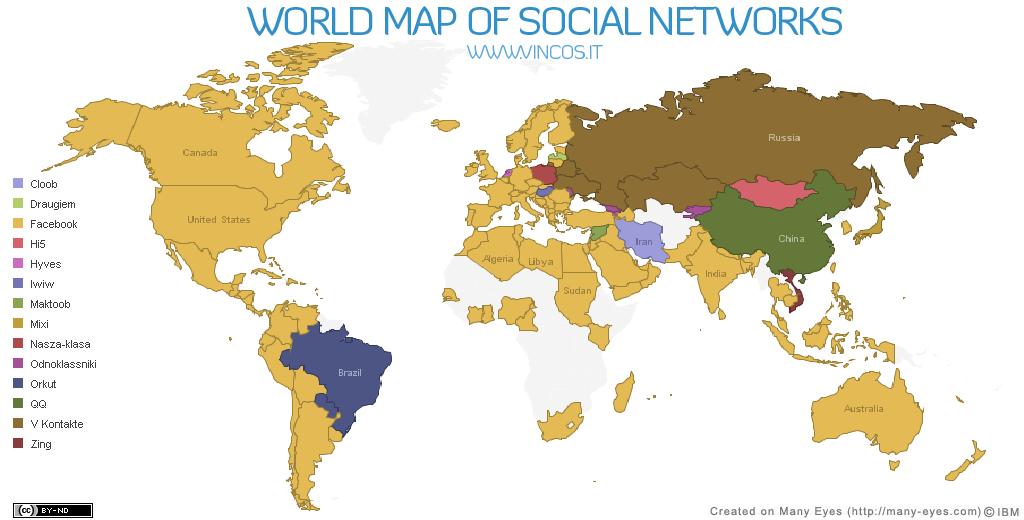 Mapa de redes sociales en el mundo_junio 2010