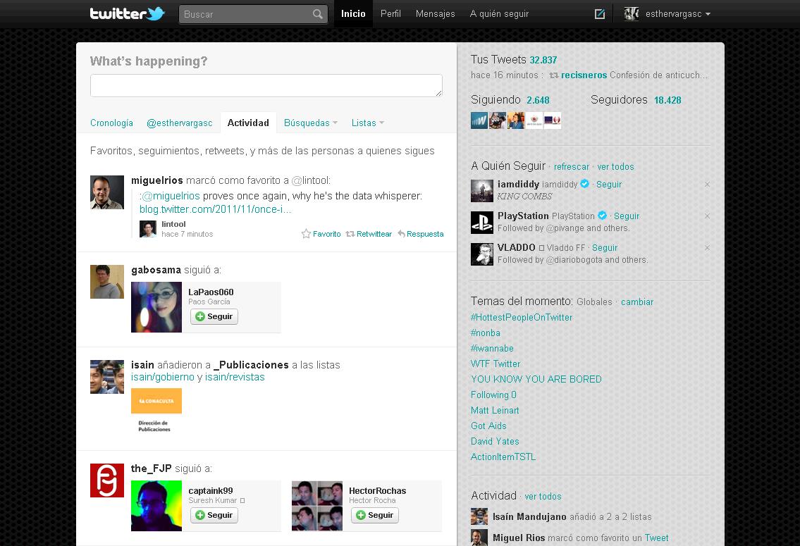 Twitter - Actividad