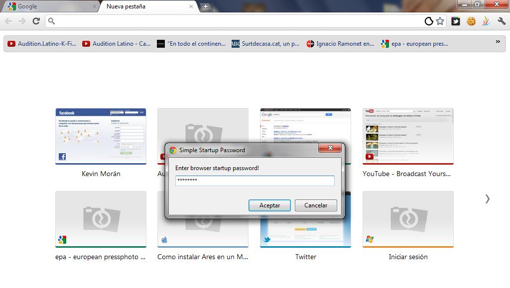 Startup al inicio de Google Chrome