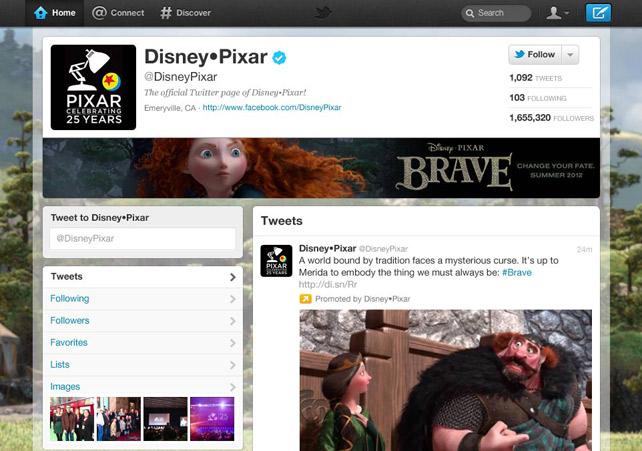 Página de Disney Pixar en Twitter