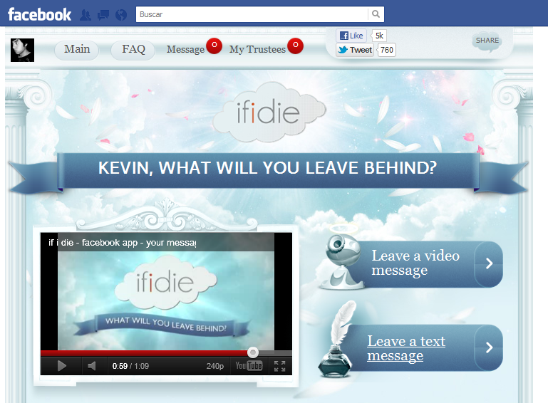 If I Die como aplicación en Facebook.