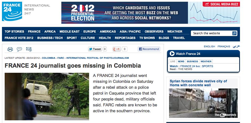 Desaparece corresponsal francés