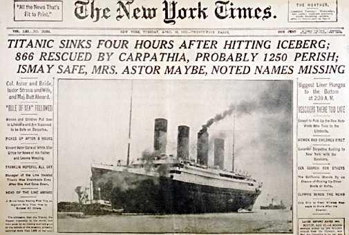 Portada del NYT sobre el hundimiento del Titanic