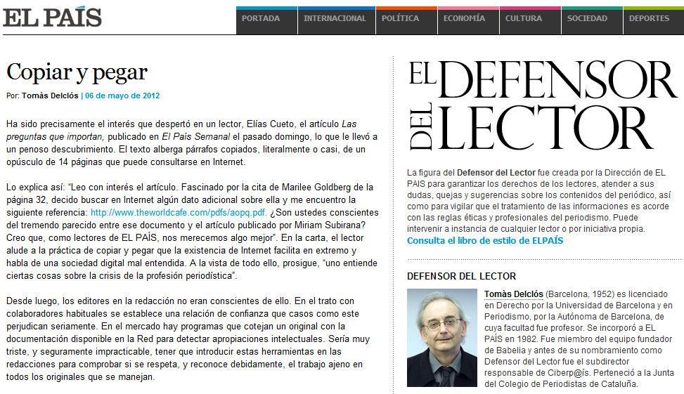 Columna de Tomàs Delclós donde se hace extensiva la denuncia del lector.