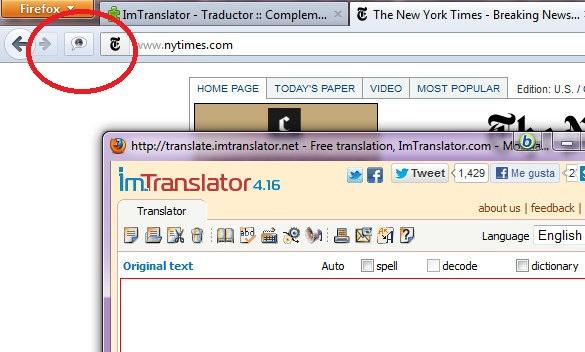 ImTranslator: El traductor más completo para Firefox
