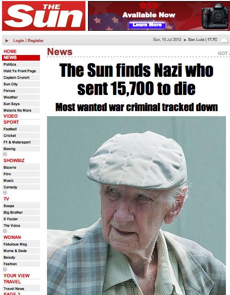 The Sun ubica a nazi