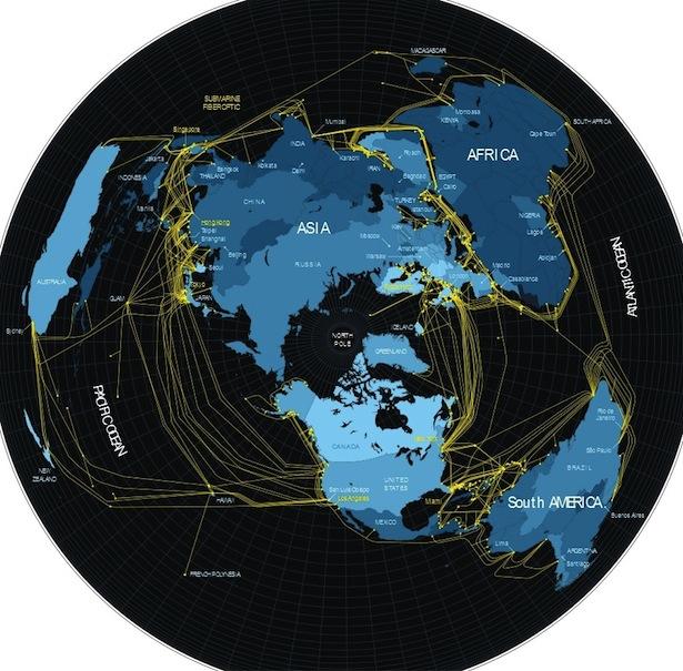 Mapa visto desde el Polo  Norte. Foto: Fortune