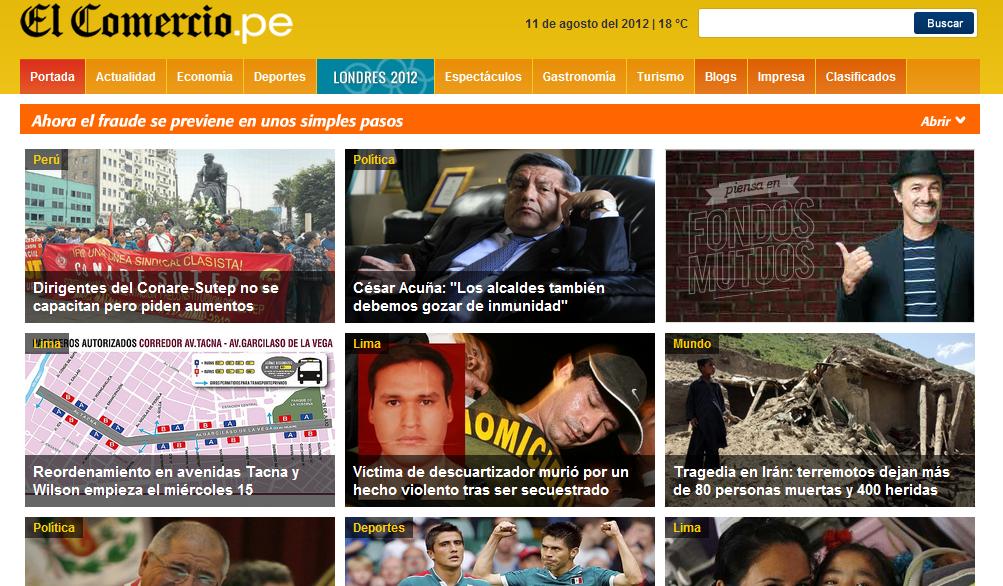 Portada web de El Comercio