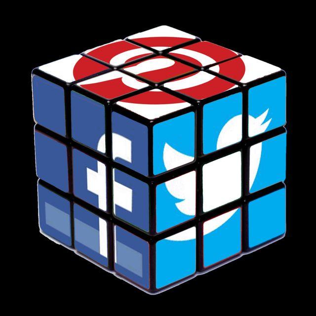 redes sociales en cubo