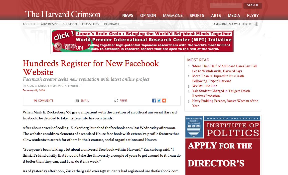 Facebook Harvard
