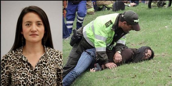 Reportera gráfica Ana María García del periódico El Tiempo fue agredida por policías (Foto: FLIP)