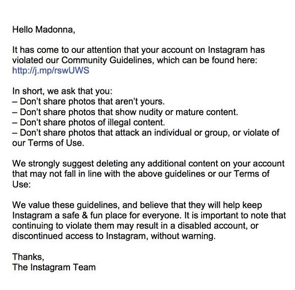 Madonna notificación