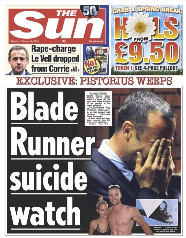 Ejemplo. Portada de The Sun del 16 de febrero.