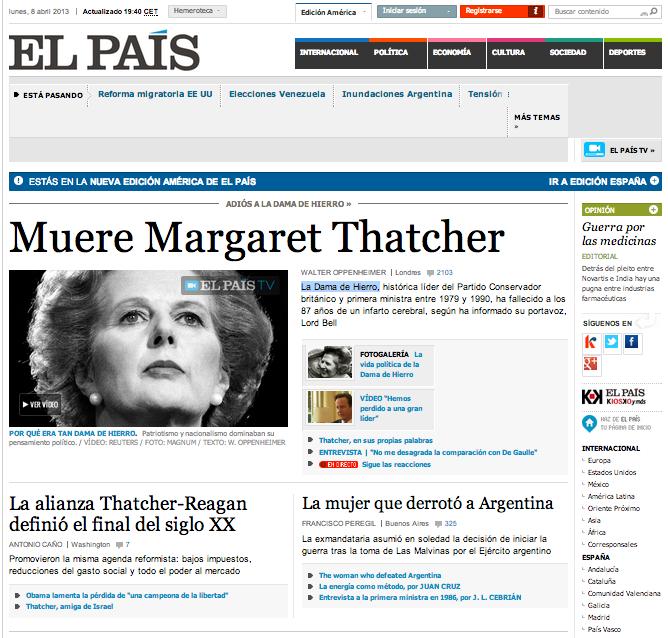 EL PAIS Thatcher