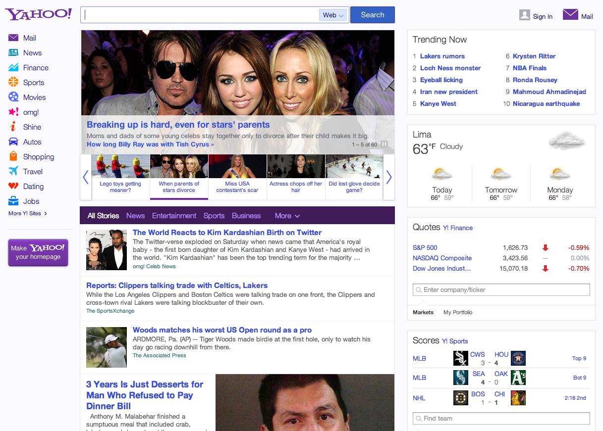 Yahoo web