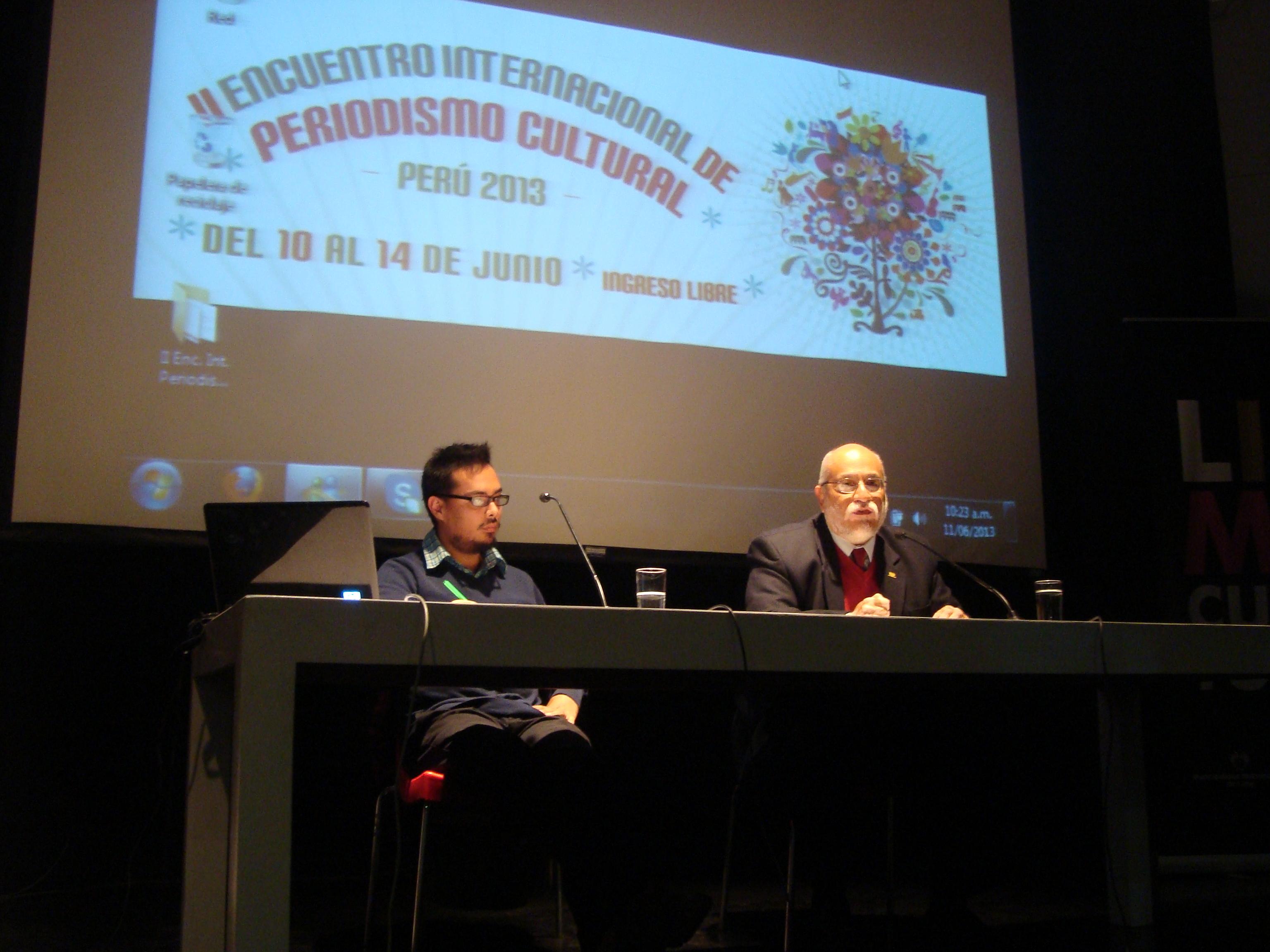 Camilo Riveros y Juan José Beteta en el II Encuentro Internacional de Periodismo Cultural