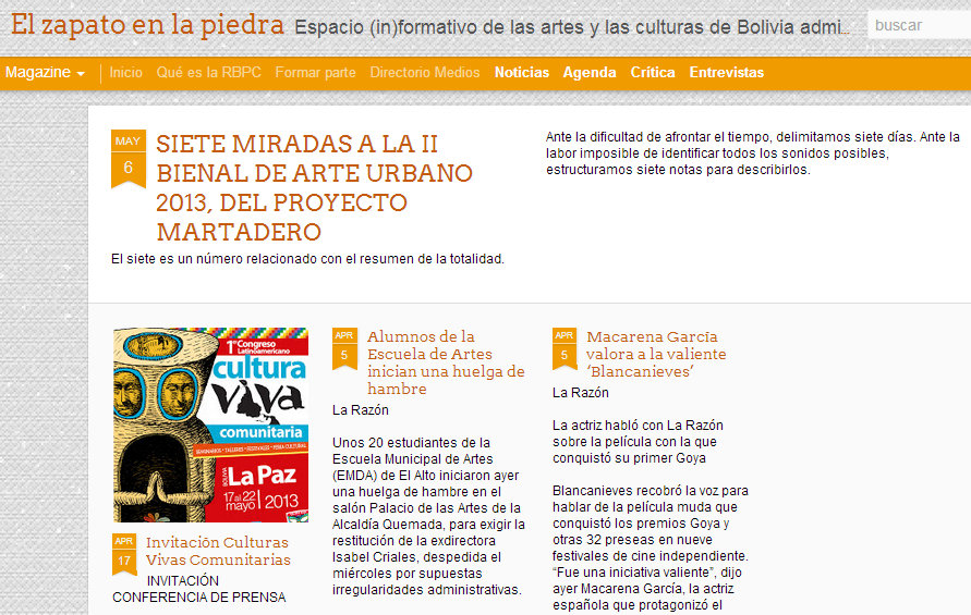 El zapato en la piedra Espacio (in)formativo de las artes y las culturas de Bolivia administrado por la Red Boliviana de Periodismo Cultural