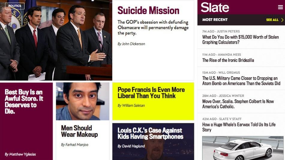 Así luce la nueva página de Slate