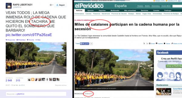 Tuiteros de la oposición han tomado imágenes de una cadena humana realizada en Cataluña, España, en 2013, y la hicieron pasar por una manifestación opositora realizada en el estado Táchira.