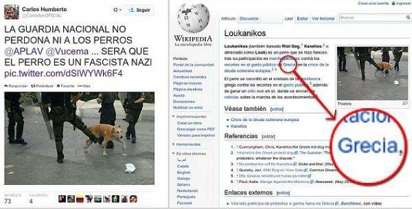 La Misión Nevado alertó que numerosos tuiteros opositores estaban usando fotos del perro griego Loukanikos, que acompañó las protestas anticapitalistas en dicho país europeo, alegando que era un perro maltratado por la Guardia Nacional Bolivariana en Venezuela.