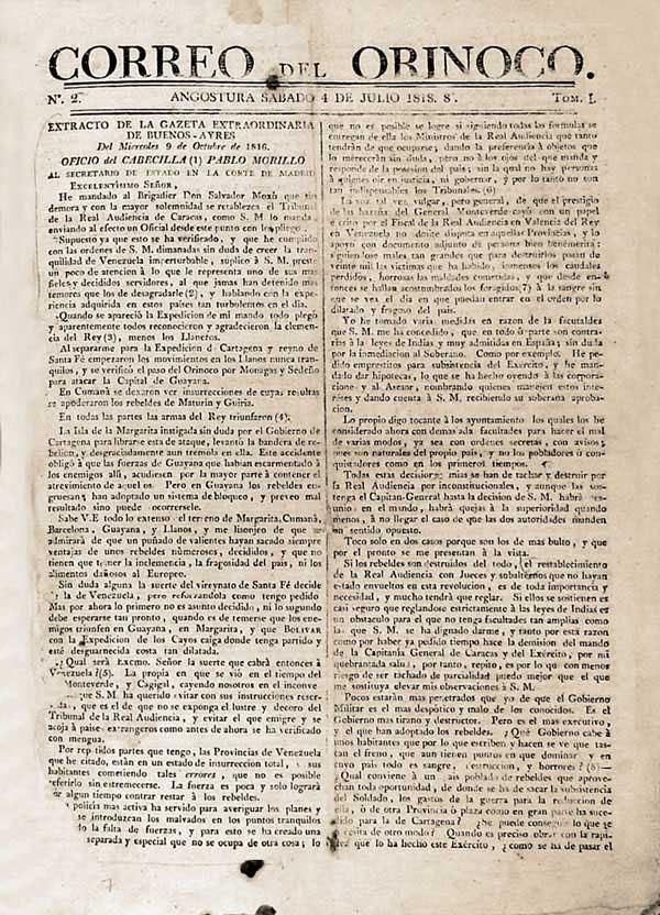 El Correo del Orinoco y su papel histórico1