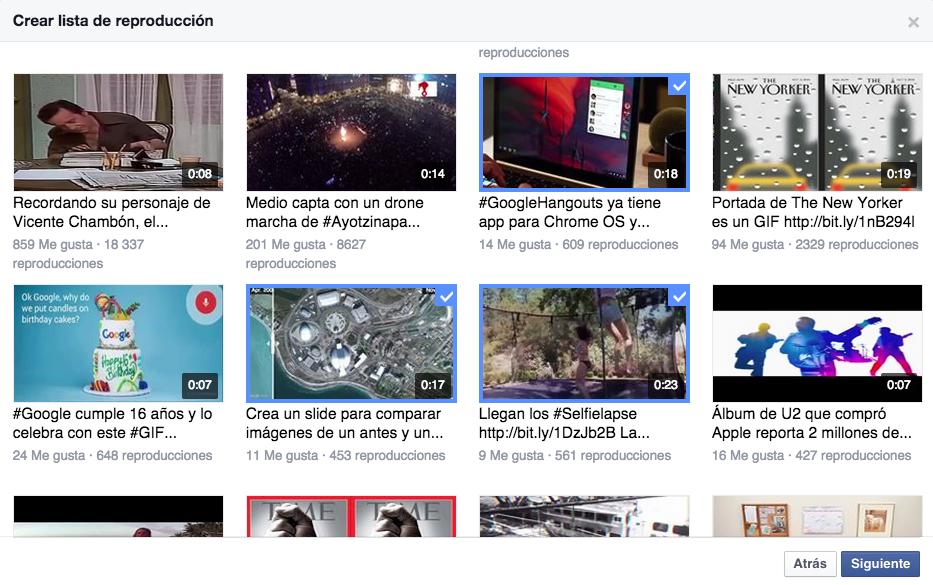 lista video facebook