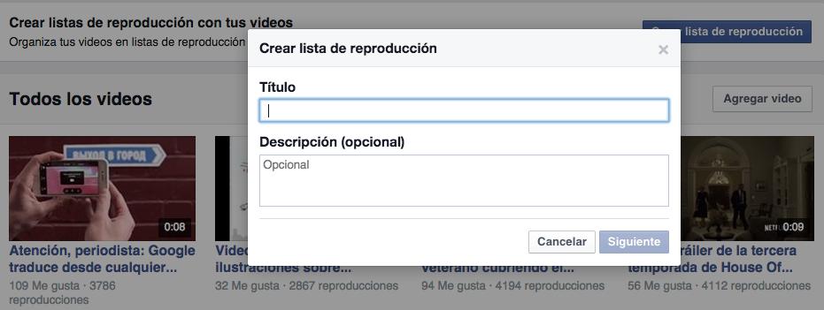 video facebook crear