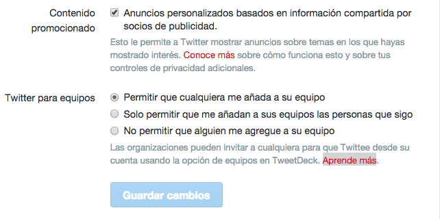 configuracion twitter