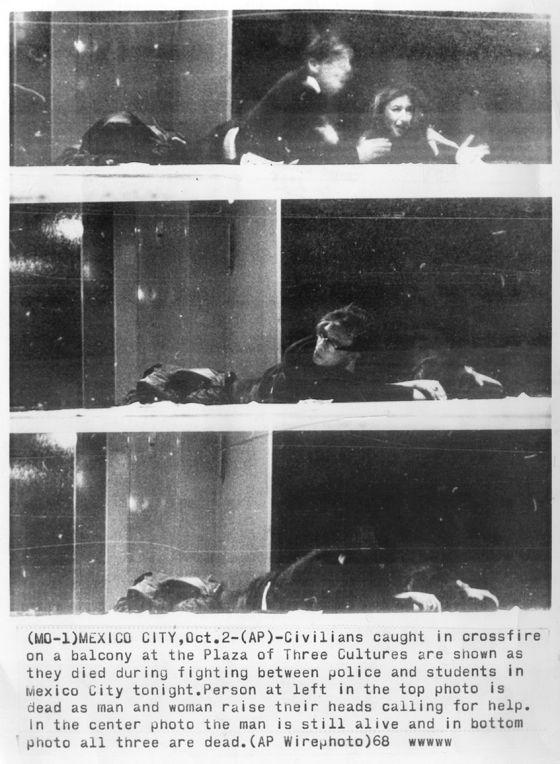 Secuencia de las imágenes realizadas por Jesús Díaz, de la Associated Press, en el instante en que Oriana Fallaci resultaba herida durante la masacre de la plaza de las Tres Culturas en México en 1968. / ED. AGUILAR