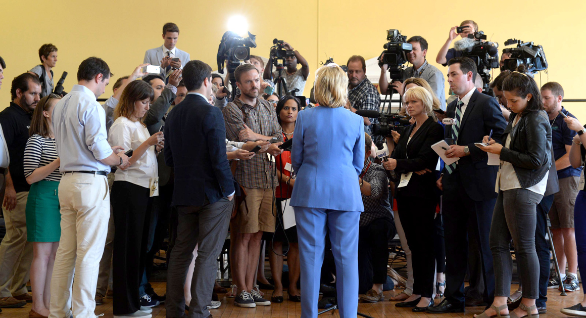 DOVER, NH - JULY 16: Democratic Presidential candidate Hillary Clinton takes questions from the media following a town hall event at Dover City Hall July 16, 2015 in Dover, New Hampshire. Clinton spoke about how to build an economy that will boost the middle class. (Photo by Darren McCollester/Getty Images)