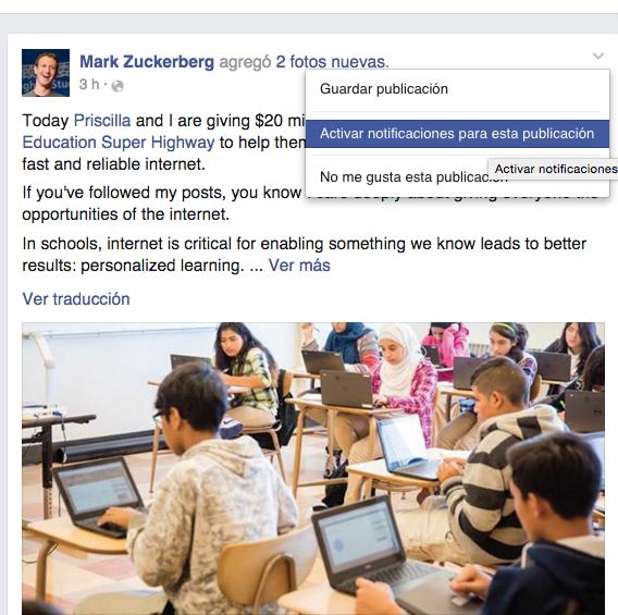 Activar notificaciones para esta publicación Facebook