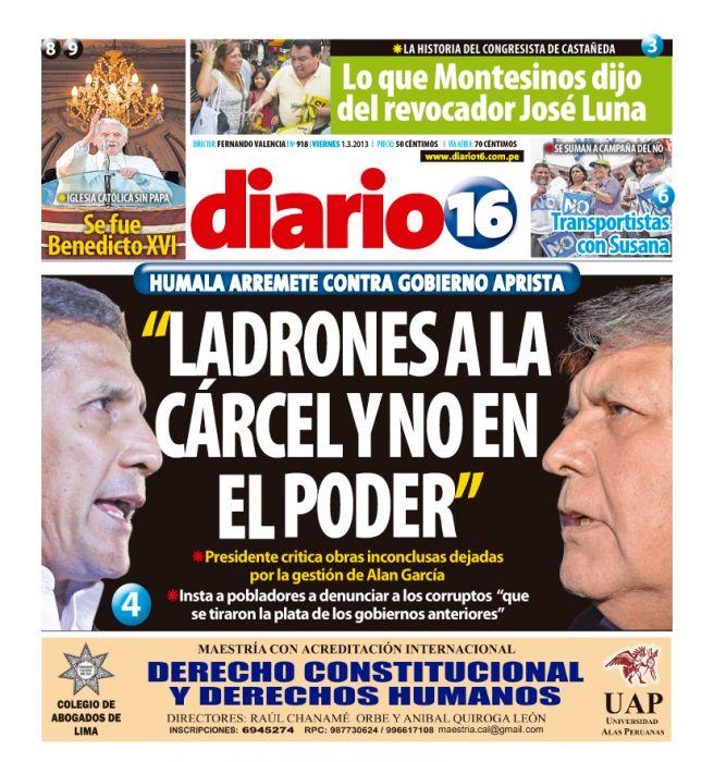 Por esta portada lo condenan a exdirector de diario 16. Foto: Utero.pe