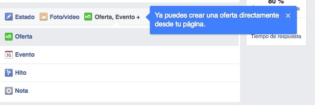 oferta en facebook