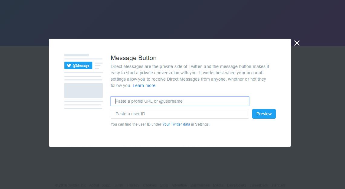 Twitter presenta opción para el envío de mensajes directos desde cualquier web