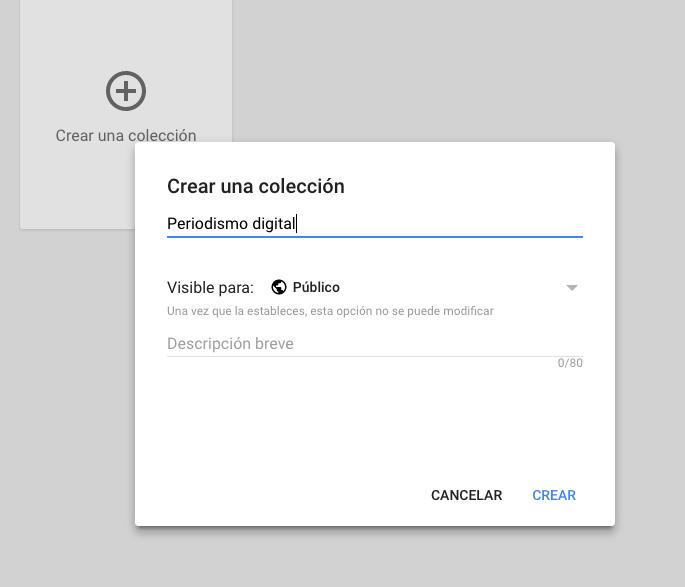 crea una coleccion google