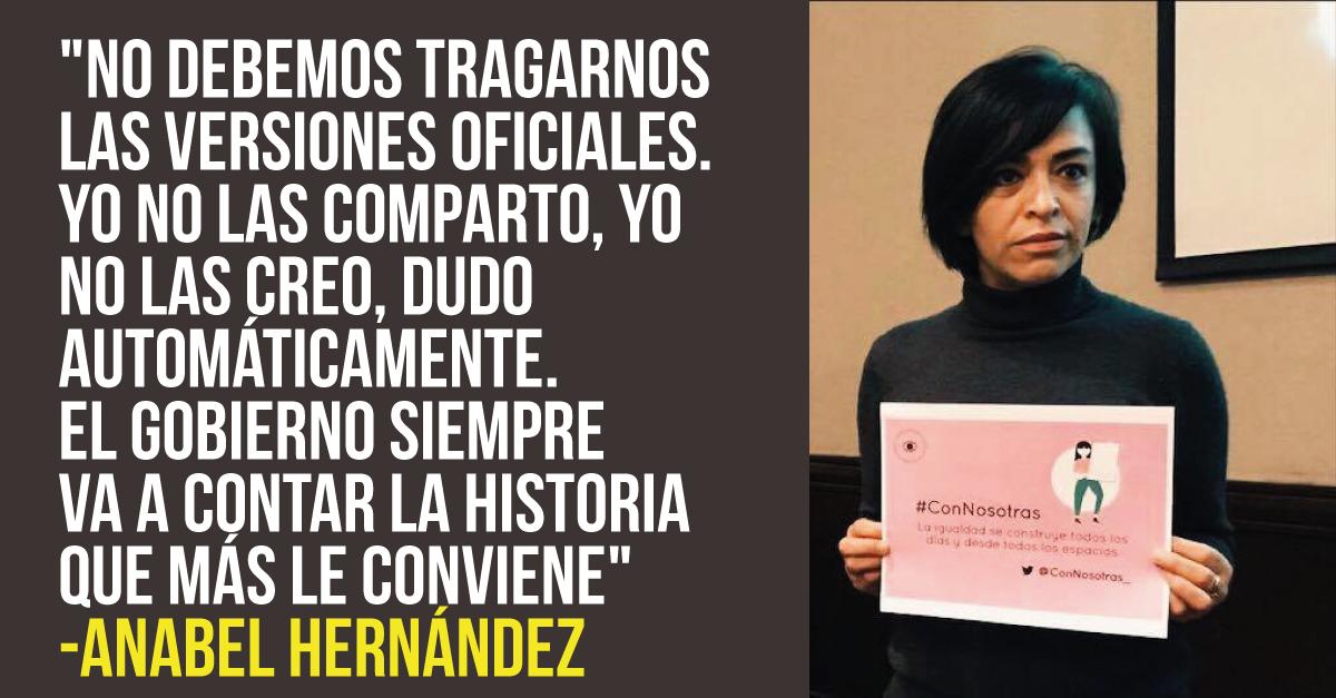 """Anabel Hernández a los periodistas: """"Nunca permitan que nada ni nadie los silencie"""""""