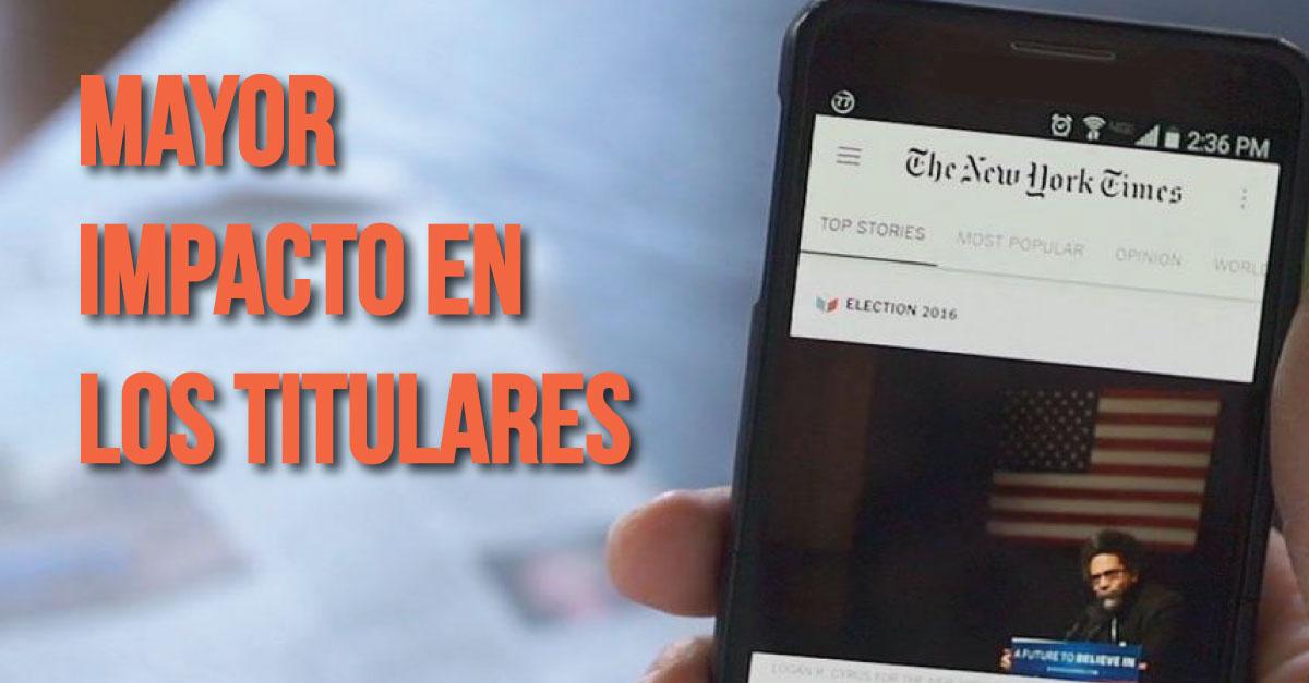 The New York Times experimenta con titulares específicos para móviles