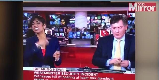 Conductora de la BBC es criticada por gesto durante cobertura de tragedia