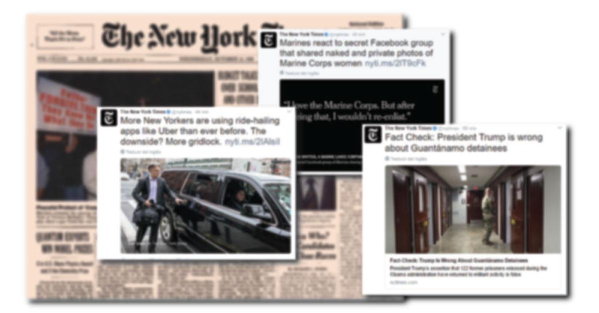NYT destacará tuits en sus páginas rediseñadas del impreso