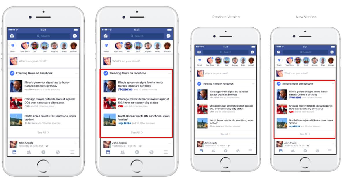 Facebook mostrará logos de medios en las secciones de Trending y Búsqueda