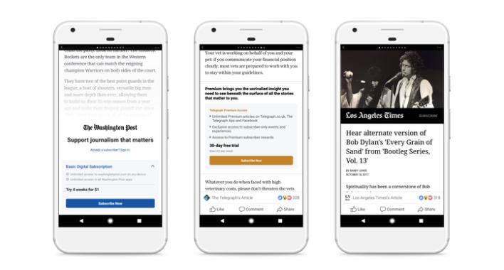Facebook probará función de suscripciones en Artículos Instantáneos
