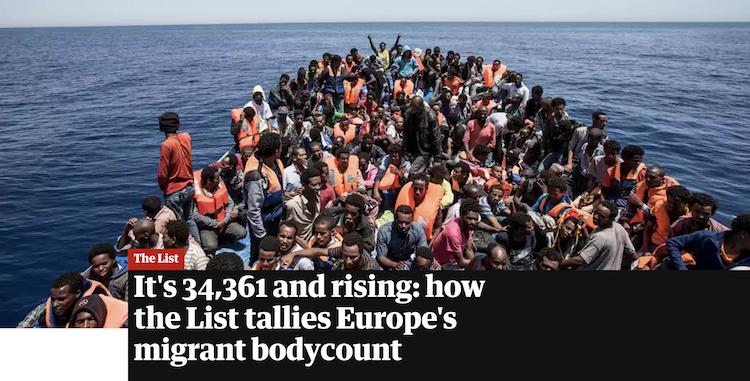 The Guardian imprime lista de 34, 361 refugiados conocidos por haber muerto tratando de llegar a Europa