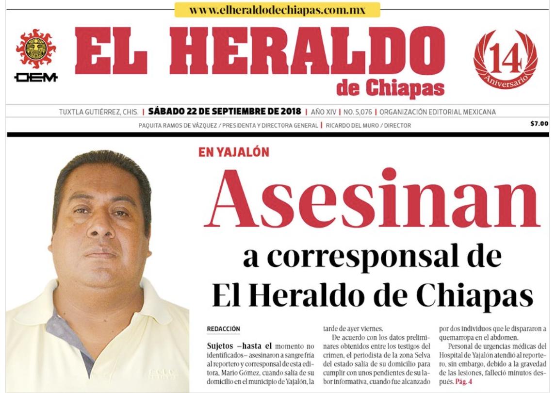 México: Matan a balazos a corresponsal de El Heraldo de Chiapas