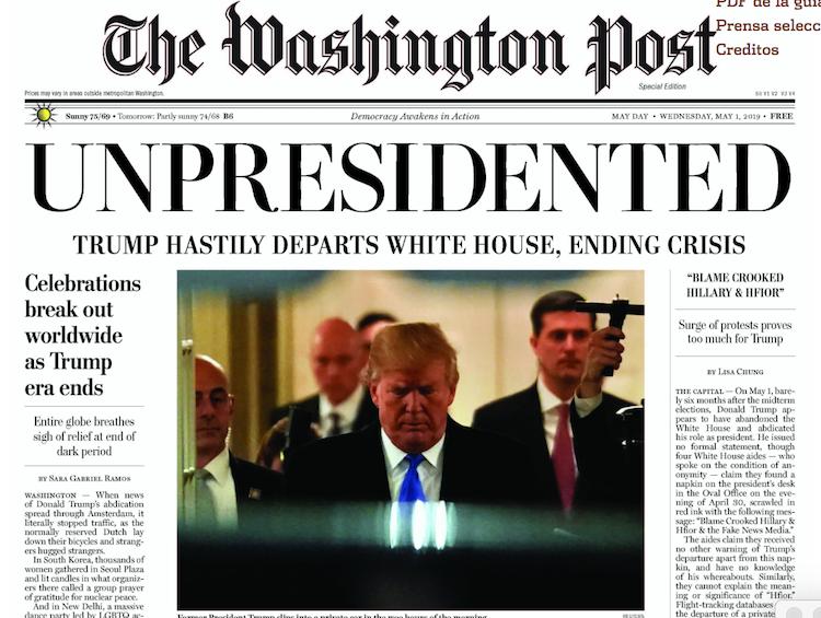 Edición falsa de 'The Washington Post' anuncia la renuncia de Trump
